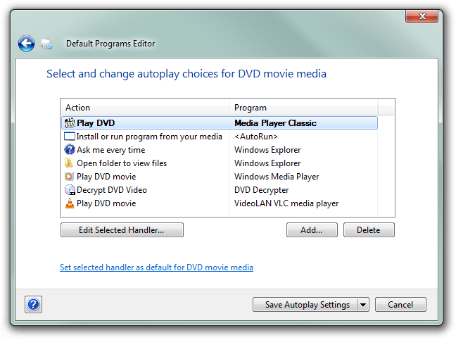 how to change default opening program