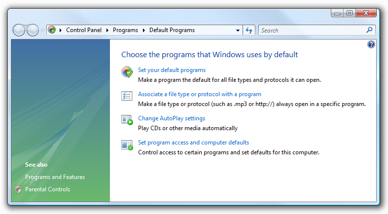 Control Panel: Default Programs