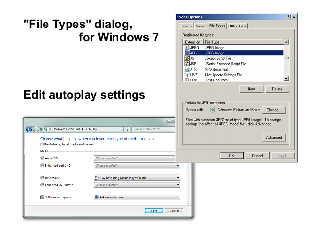 Default Programs Editor: replaces the File Types dialog in Windows XP